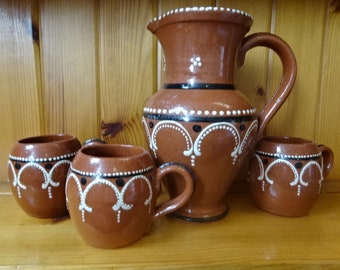 Vintage Handmade Pottery Jug and Three Cups / Handpainted / Pottery Jug / Made in Portugal / Pottery Decor / Home Decor / Kitchen Decor