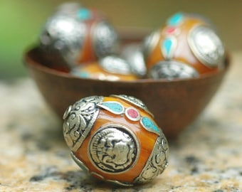 Exotic Large Tibetan Copal Amber Resin Focal Bead with Silver Caps, Turquoise and Coral Inlay ~ 1 Bead