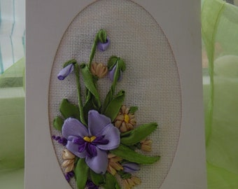 """Greeting Post Card Ribbon Embroidery """"Pansies"""""""