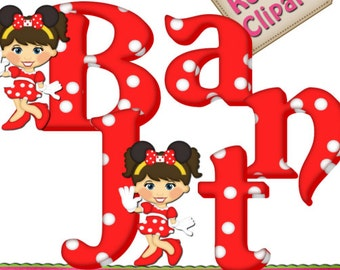 DIGITAL SCRAPBOOKING CLIPART - Minnie Mouse Alphabet Red