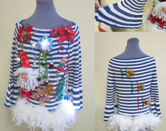 Ohh la..la.. Glam Tacky Ugly Christmas Sweater, Sexy Sweater, women's sz S  Feather Trim Ready to SHIP, Santa Sweater, Bell Sleeves,