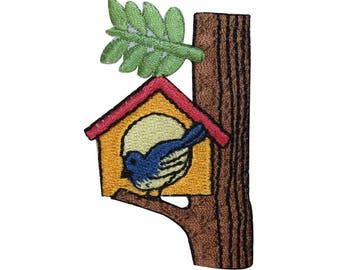 ID 3108 Bird House On Tree Patch Branch Home Hut Embroidered Iron On Applique