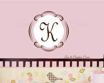 Monogram Wall Decal • French Swirl Frame Initial Monogram • Vinyl Wall Decal Nursery Girl Bedroom Decor • Parisian Theme Decoration