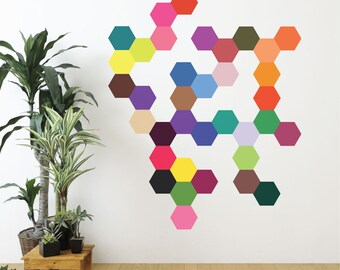 Hexagon Wall Decal 36 Mod Solid Colors Hexagons Decals, Modern Art Geometric Decals Peel and Stick Repositionable Fabric Hexagonal Decals