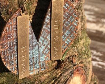 Metal and Leather Earrings-Weathered-Speak Truth-Boho Earrings-It Is Well