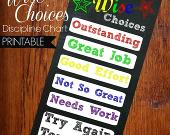 Wise Choices Kids Discipline Good Behavior Learning Chart