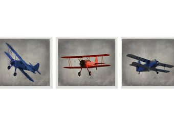 Vintage Airplane Art, Plane Photography, Airplane Nursery, Baby Boy Nursery, Boy Room Decor, Plane Wall Art, Plane Print, Biplane, Boy Gift