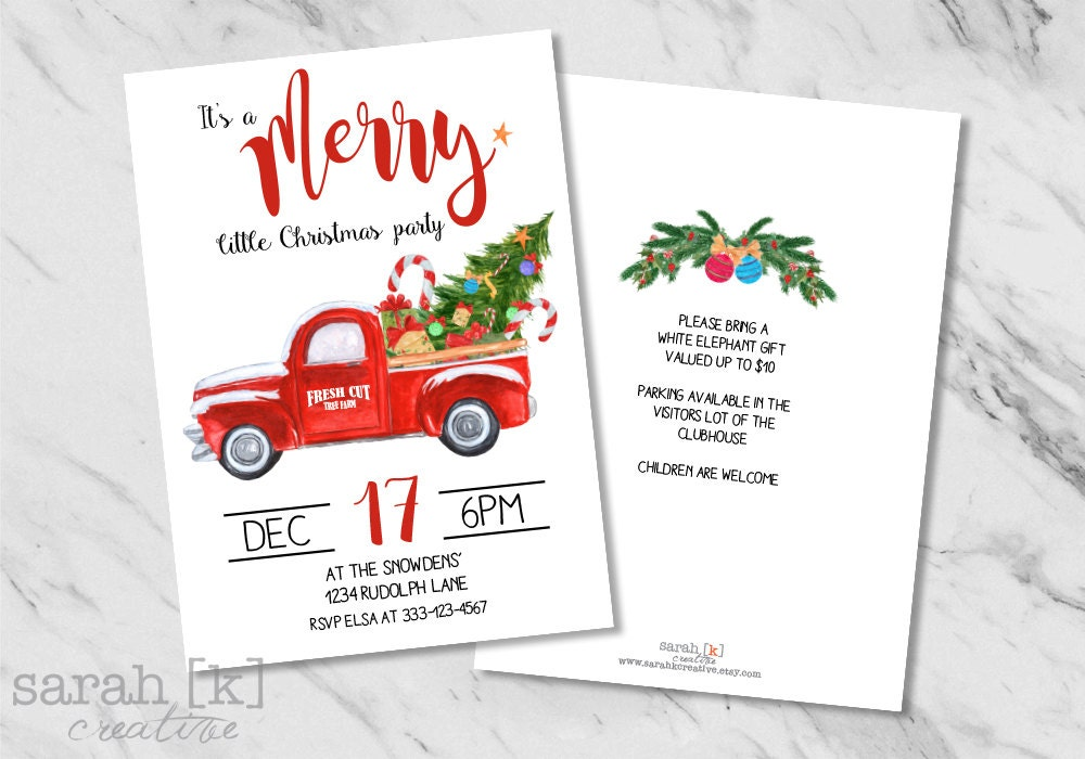 Red truck invitation Christmas party invitation Holiday