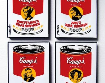 Jessica Lange, American Horror Story, 4 set framed original Pop Art Soup by Zteven