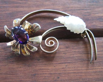 Vintage 1940s Sterling Silver Floral Spray Brooch - Flower Pin - Gold Gilt - Amethyst Color Stone - 11.1 grams