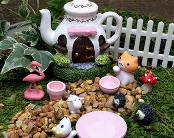 Fairy garden tea party accessories, Mad Hatter, Cheshire Cat, Alice in Wonderland, fairy garden kit