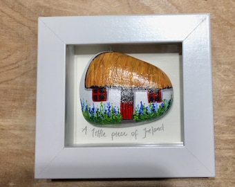 Irish thatched cottage, painted rock, framed
