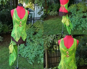 Woodland Fairy Dress in Green and Brown. Felted Elven Pixie Skirt and Top. Leaf Fairy Costume. Tree Spirit. Festival Wear.  Burning Man.