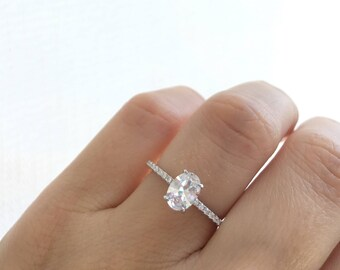 Oval Engagement Ring. High Quality Diamond Simulant Promise Ring. Silver Oval Engagement Ring. Wedding Ring. Half Eternity Ring.