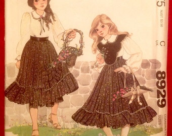 Vintage Girl's Dress and Bib Pattern // McCall's 8929, size 7-8-10, Enchanted Forest, Inc., unused