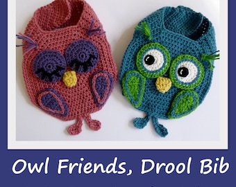 Crochet pattern Baby Bib Owl Burp Drool Bib crochet bib pattern owl pattern for Boy Girl INSTANT pdf DOWNLOAD BONUS Frog Hat pattern