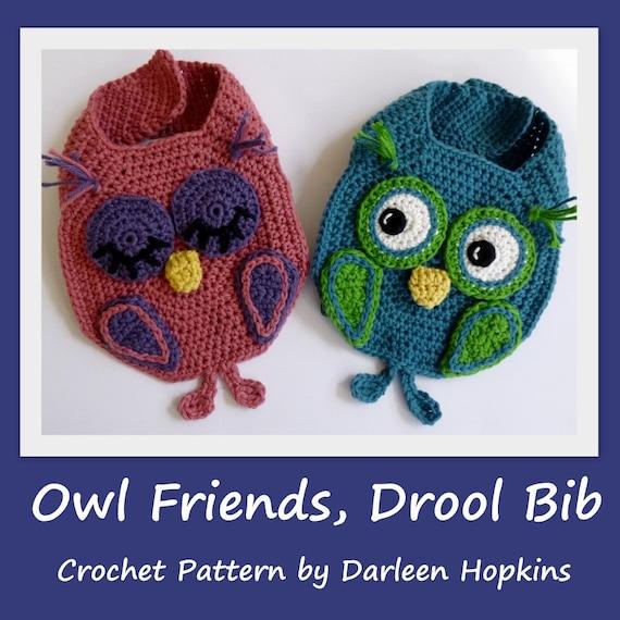 Crochet Pattern Baby Bib Owl Burp Drool Bib Crochet Bib Pattern Owl