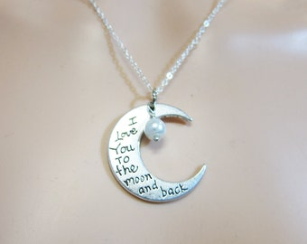I Love You to the moon and back - Crescent Moon Necklace (T6)