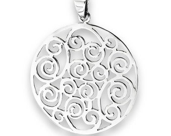 "Sterling Silver Swirl Filigree Pendant on 18"" silver chain"