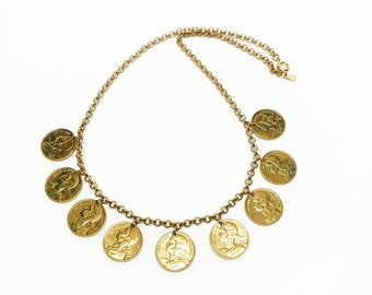 French Coin and Gold Rolo Link Chain Necklace