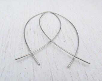 Big Almond Shaped Threader Earrings / Stainless Steel Hoops / Open Hoop Earrings / 316L Stainless Steel Earrings / Big Hoops / 105012