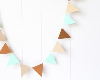 Triangle Flag Bunting Garland / Bunting Gold and Mint 5 ft