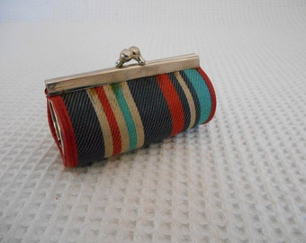 Vintage Mini Purse Fabric Mini Stripey Baguette