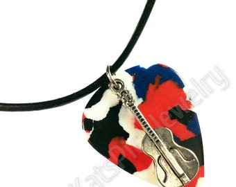 Guitar on Red, White & Blue Confetti Guitar Pick Necklace