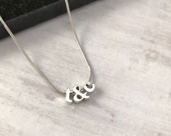 Sterling Silver Personalised Initial Necklace/Couple initials Necklace/Tiny Initial/Friendship Necklace/Letter Ampersand Necklace/Bride/Gift