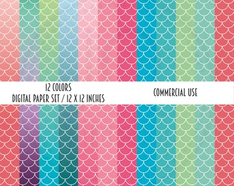 Sale Price, Digital Paper Pack, Mermaid Scales, Digital Scrapbook Paper, Commercial Use