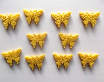 set of 10 BUTTERFLIES in felt color is yellow