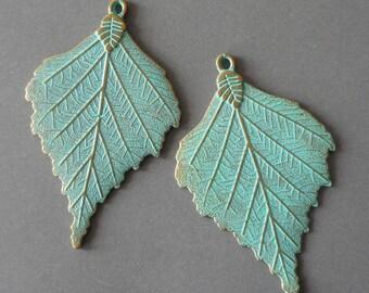 "2.75""-large leaf pendant- bronze tone leaf charm pendant, patina brass leaf pendant"