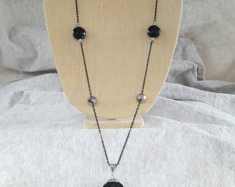 Black and Silver Tassel  Lariat necklace