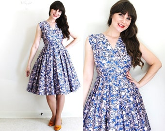 1950s Dress / 50s Dress / 50s Full Skirt Dress