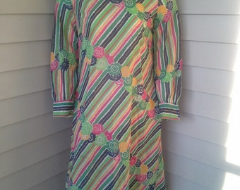 60's dress/psychedelic/floral dress/long sleeve