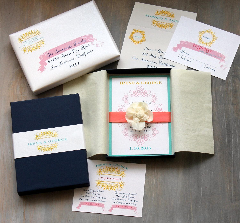 Boxed Wedding Invitations Modern Beach Wedding Invitation