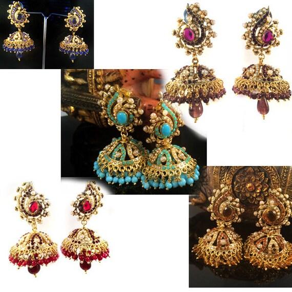 Hesiod Indian Wedding Jewelry Sets Gold Color Full Crystal: Gold Jhumka EarringsChandelier Earring Long Earrings Bridal