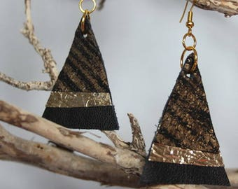 Black, metallic recycled leather earrings