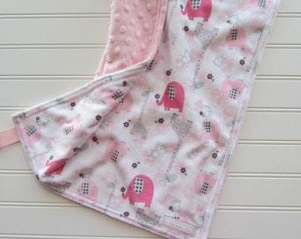 Pink Elephants Baby Girl Lovey Blanket, Giraffe Baby Girl Blanket, Girl Security Lovey, Zoo Security Blanket, Light Pink Baby Lovey