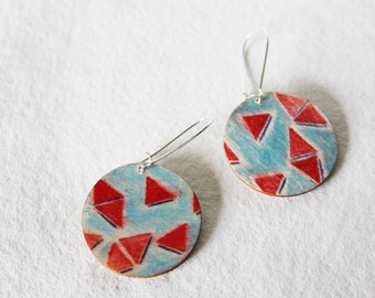Red & Blue Triangle/Blue Lines Drop Earrings