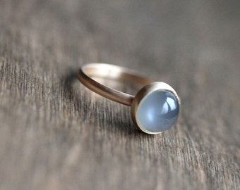 Grey Moonstone Ring, Platinum Gray Moonstone and Recycled 14k Gold Ring - Size 6 or Made to Order