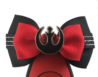 """Rebel Allaince (Black) Magic Band Bow or Apple Watch Bow, 2"""" Mini Hair Bow, Planner Bow - Star Wars Collection"""