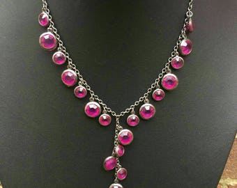 Vintage dark metal necklace with Lovely pink colour stones in mint condition comes in gift pouch