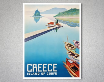 Greece Island of Corfu Vintage Travel Poster, Canvas Giclee Print / Gift Idea