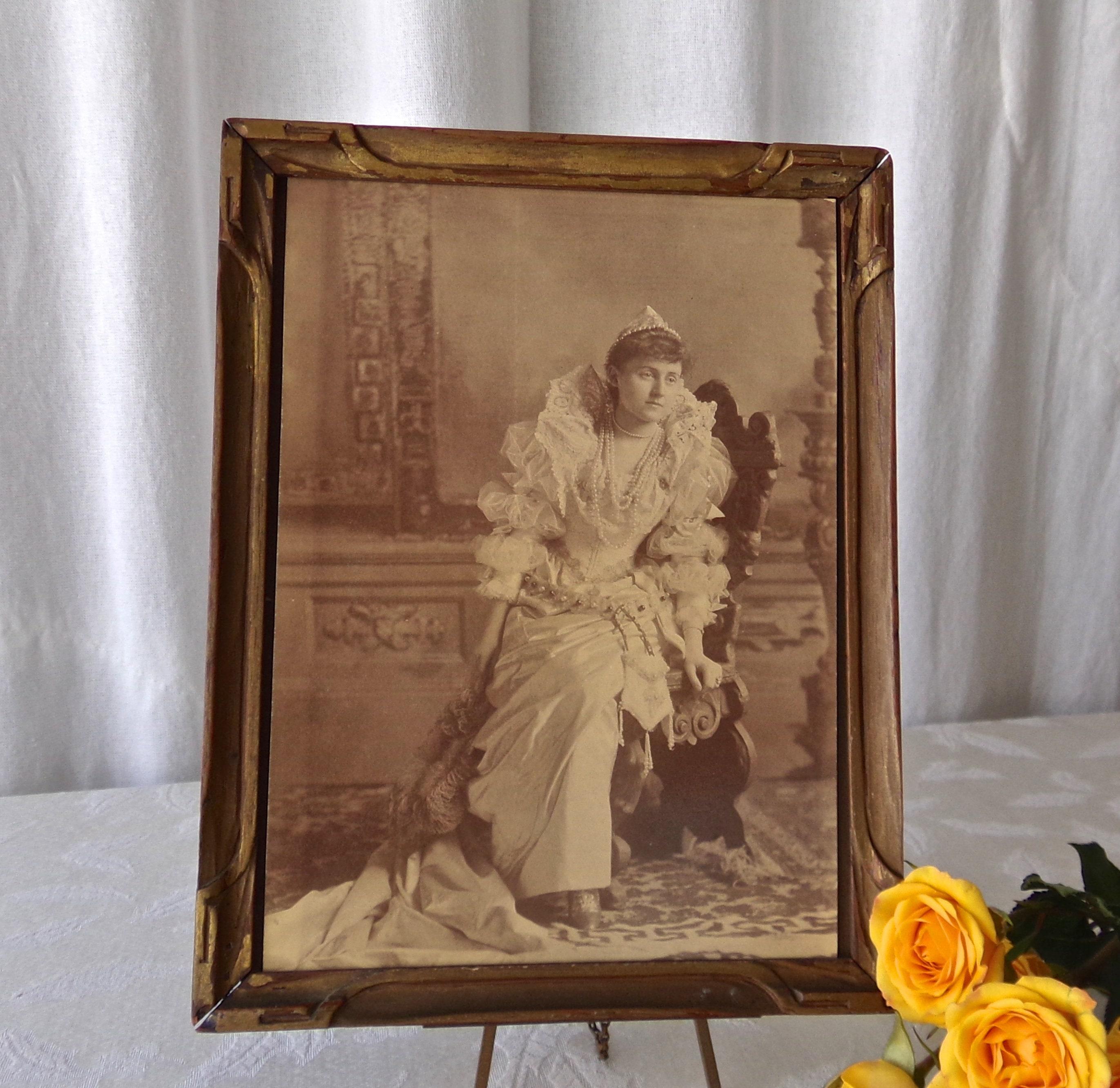 Antike viktorianische Braut Porträt Holzrahmen Shabby Landhaus