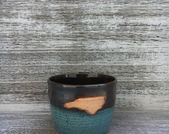 Pottery mug, NC mug, green mug, North Carolina mug, I love NC mug, green coffee mug, coffee mug, handmade pottery mug made in North Carolina