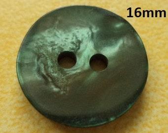 10 buttons Dark green 16 mm (161) button Green