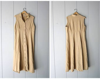 90s LINEN Dress Long Minimal Sun Dress Button Down Modern Vintage Loose Fit Frock Natural Beige Sundress Casual Dress Womens Large XL