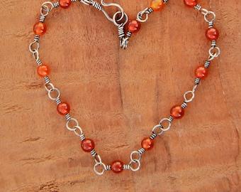 "Bracelet, carnelian beads on hand made sterling silver linked chain, 7"", adjustable, dainty, petite, feminine"