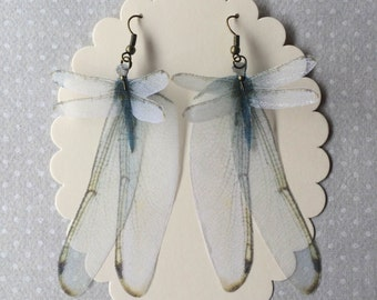 Wings - Handmade Blue Dragonfly and Wings Silk Organza Earrings